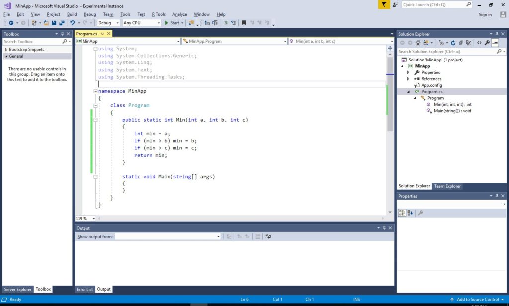 "MS Visual Studio 2017 модуль ""Program.cs"""