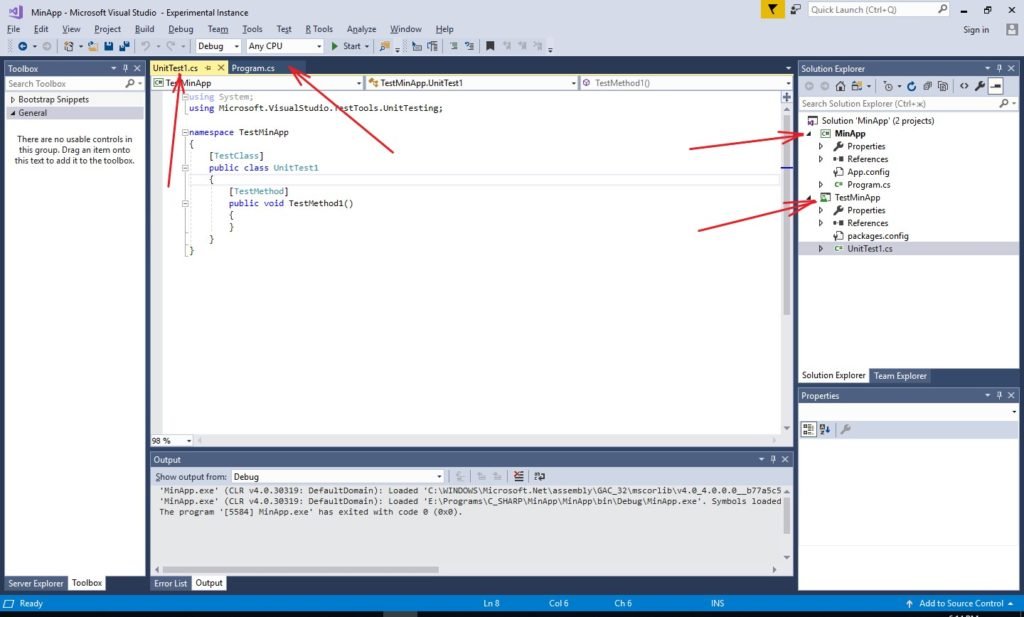 MS Visual Studio Solution Explorer window