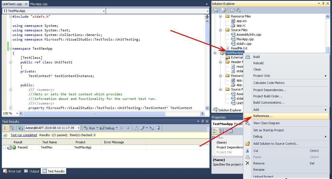 C++  Example of Unit-test creating in MS Visual Studio