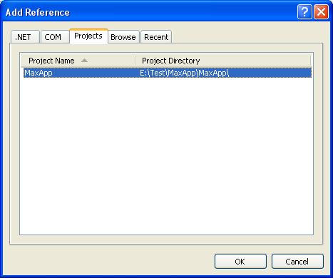 MS Visual Studio вікно Add Reference проекти