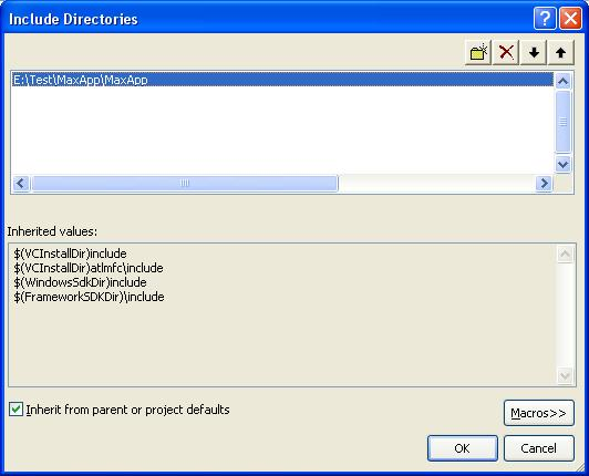 Visual Studio Окно Include Directories