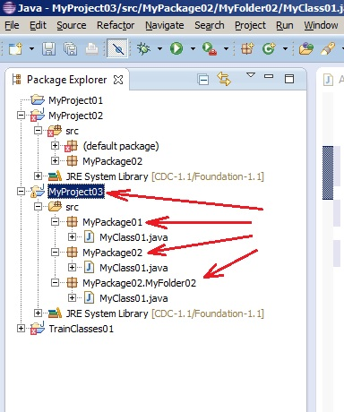 Java Eclipse. Package Explorer window. Displaying packages in the project