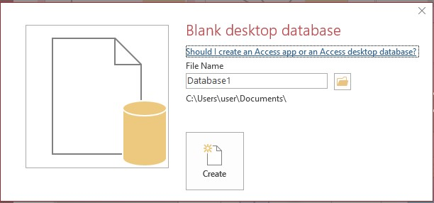 Microsoft Access filename folder