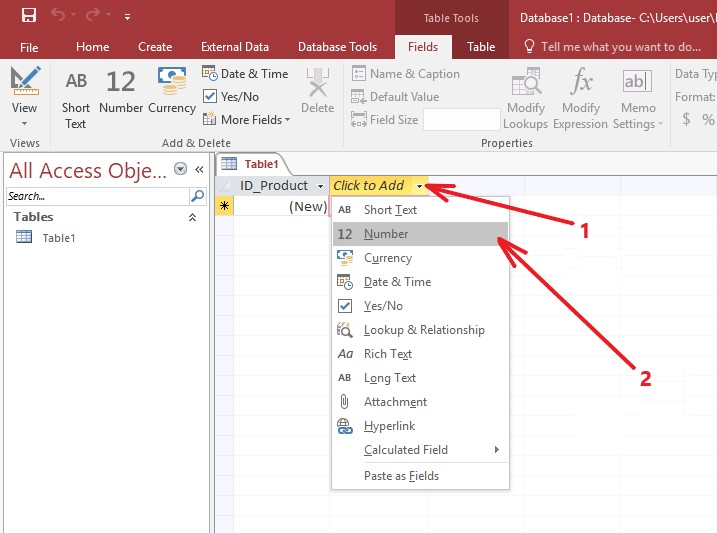 Microsoft Access add field table