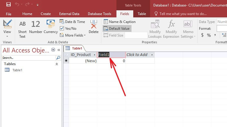 Microsoft Access add field default