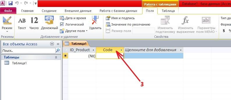 Microsoft Access название поля