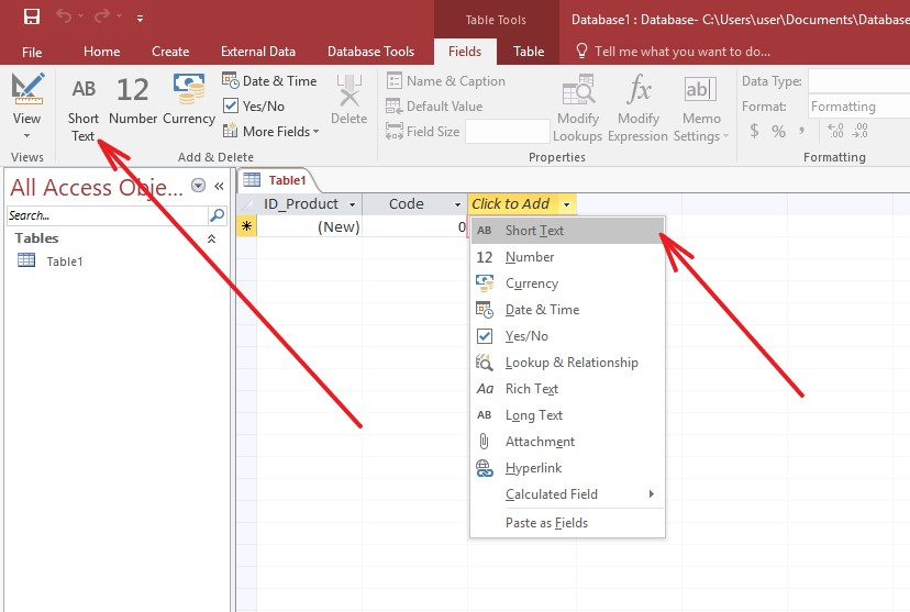 Microsoft Access add text field