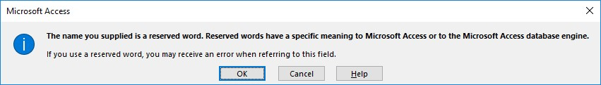 Microsoft Access warning Name reserved
