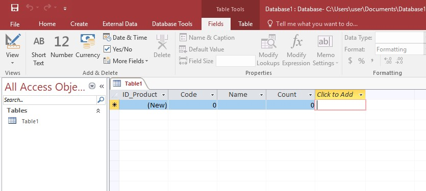 Microsoft Access field table