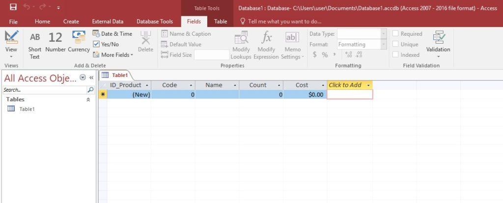 Microsoft Access table Cost field