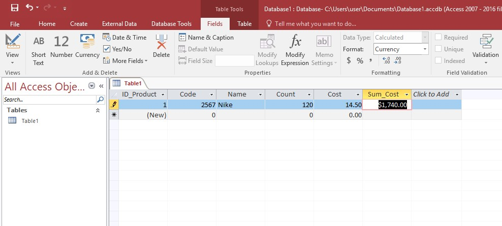 Microsoft Access entering data table