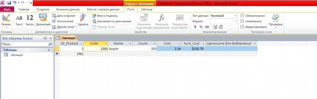 Microsoft Access ввод данные таблица