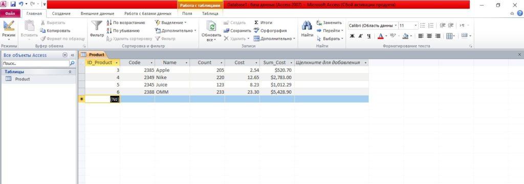 окно Microsoft Access таблица Product