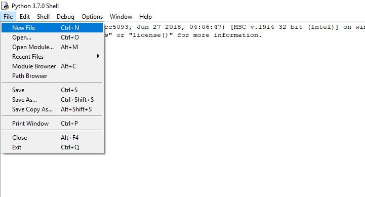 Python команда File New
