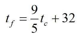 Формула преобразование градусы Фаренгейт Цельсий