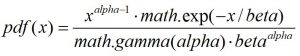 Python. Гамма-распределение. Функция random.gammavariate()