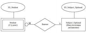 Бази даних. Зображення слабкого зв'язку між типами сутностей Student та Subject_Optional