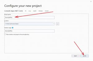 "MS Visual Studio 2019. Window ""Configure your new project"""