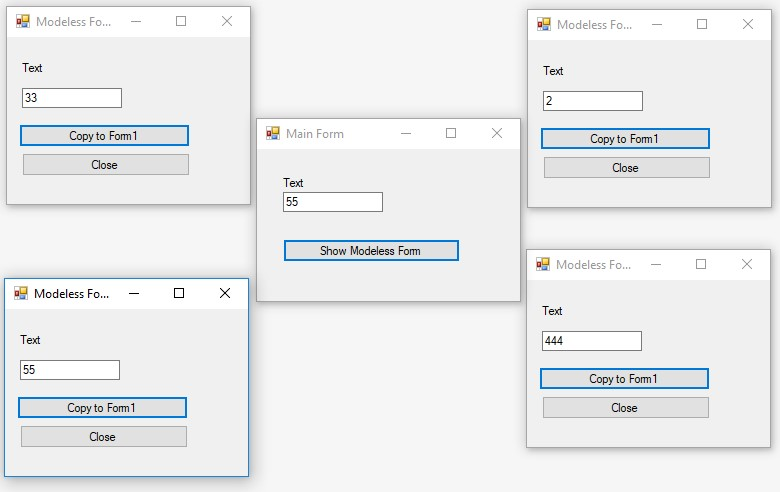 C#. Windows Forms. The case when several modeless forms are called from the main form