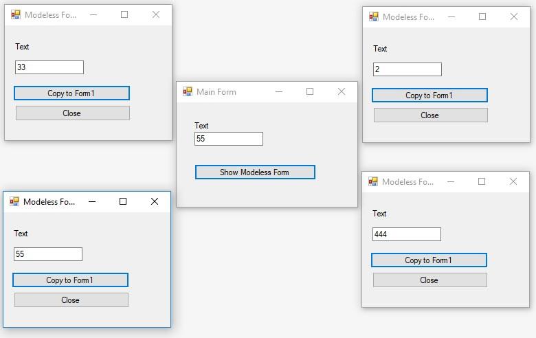C#. Windows Forms. Немодальна форма. Виклик з форми 4 немодальних форм