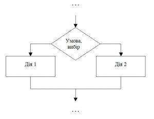 Розгалужений алгоритм. Позначення на блок-схемі
