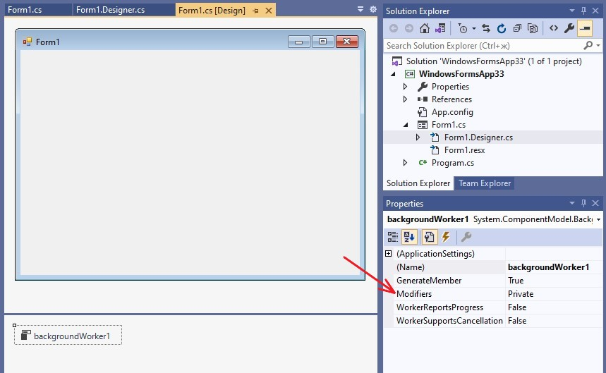 C#. Windows Forms. BackgroundWorker control. Property Modifiers